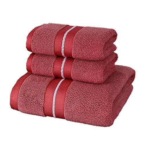 Juego de Toallas de algodón Star Hotel Lujo Toalla de satén Toalla de baño hogar súper Suave Absorbente baño Cara Toalla-Red_3PCS Juego de Toallas