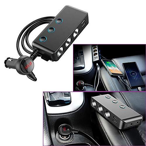 Eulina - Cargador de coche para encendedor de coche, cargador de coche, carga rápida, puerto 3USB, 1 QC3.0, 3 puertos de mechero, diseño de clip trasero y pantalla LED