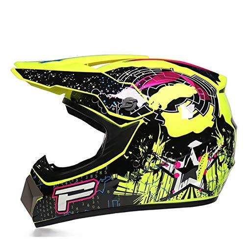 FANGJIA-Helmet Casco de Motocross, Casco de Cross de Moto Set con Gafas Máscara Guantes, Deportes de Motos Off-Road Racing Downhill Enduro Casco ATV MTB BMX Quad Cascos de Motocicleta