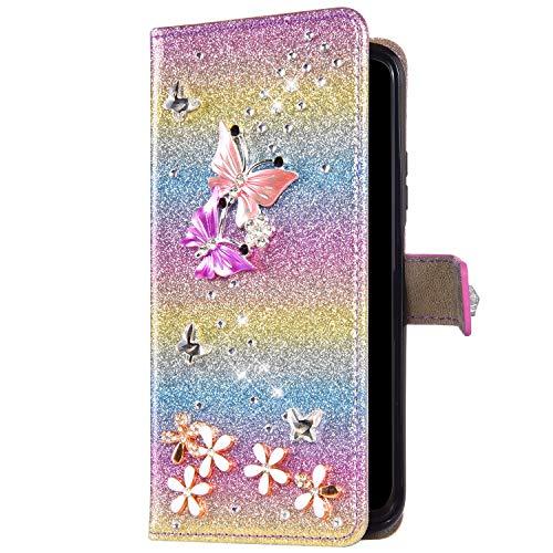 Uposao Kompatibel mit Huawei P40 Lite Hülle Schmetterling Blume Diamant Strass Bling Glitzer Handy Hülle Leder Wallet Schutzhülle Brieftasche Hülle Klapphülle Tasche Kartenfächer,Rosa Gold