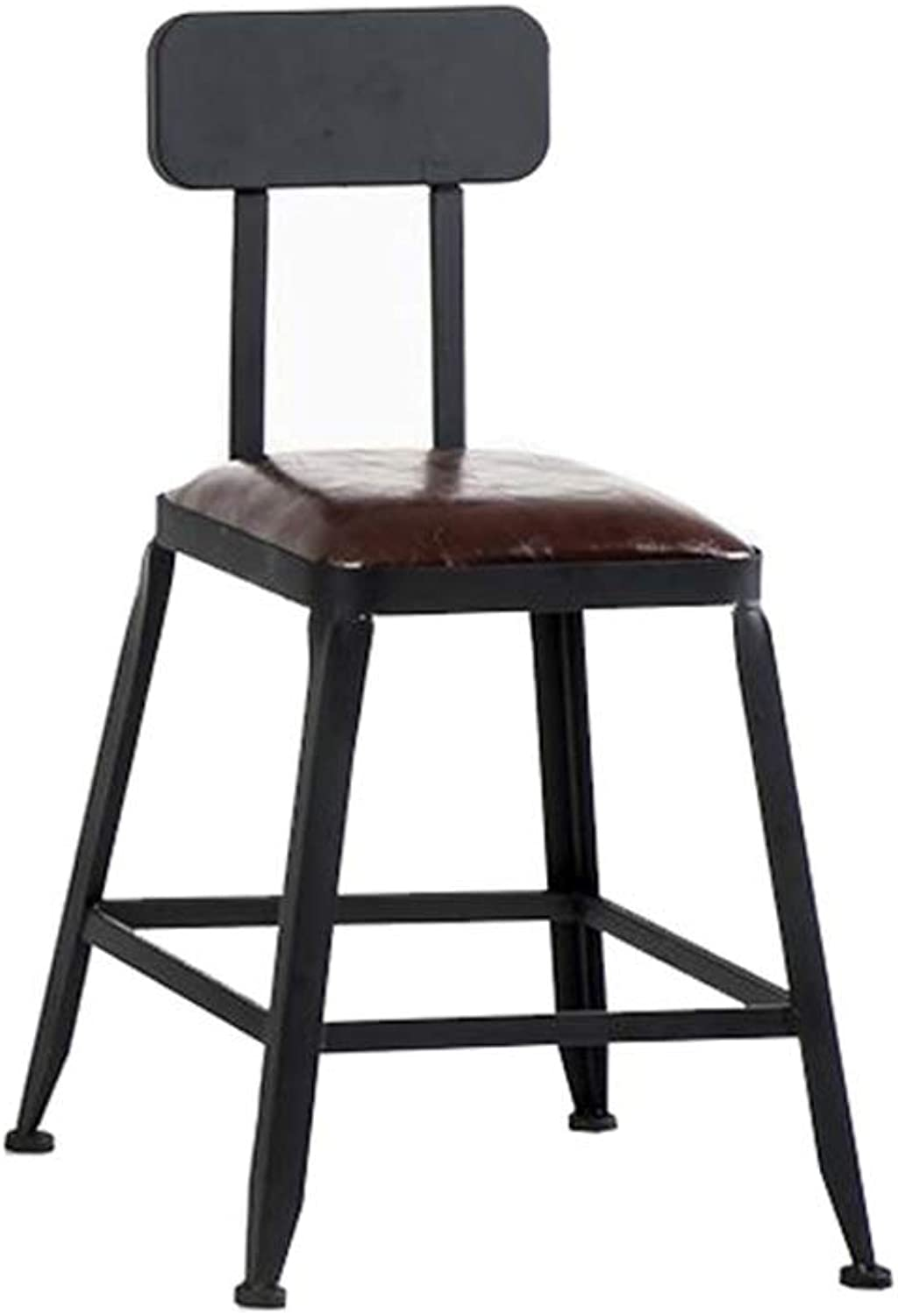 High Stool Barstool Iron Breakfast Dining Stool for Kitchen Bar Counter Home Commercial Chair with Backrest and PU Cushion LOFT Industrial Retro Style (color   Height 45cm)