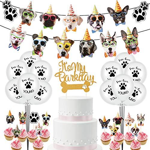Etmury 38PCS Hündchen Geburtstag Deko , Hund Kindergeburtstag Dekoration, Happy Birthday Banner, Hündchen Luftballons, Kuchendeckel, Cup Cake Topper, Hündchen Party Deko zum Geburtstag Deko Junge