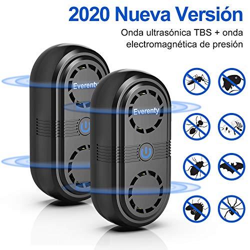Everenty Repelente Ultrasónico de Plagas [2020 Nueva Versión] Plagas Control Interiores Ahuyentador de Ratones ultrasonidos Ahuyentador de Mosquitos Plagas Cucarachas Ratas Arañas 2 Piezas (Negro)