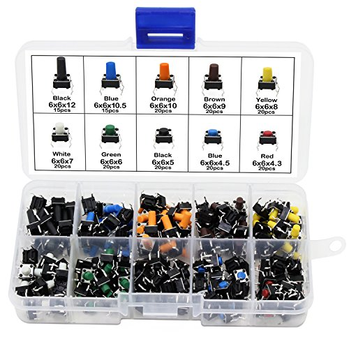 Aussel 10 valore 190 pezzi colorato tattile interruttore a pulsante micro momentaneo kit assortimento di tatto