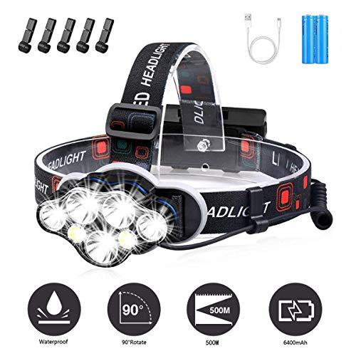 YEFIDER Stirnlampe, Superheller 12000 Lumen 7 LED 8 Modi Kopflampe mit Warnleuchte, USB Wiederaufladbare wasserdichte Kopflampe für Arbeit Outdoor Camping Wandern Angeln
