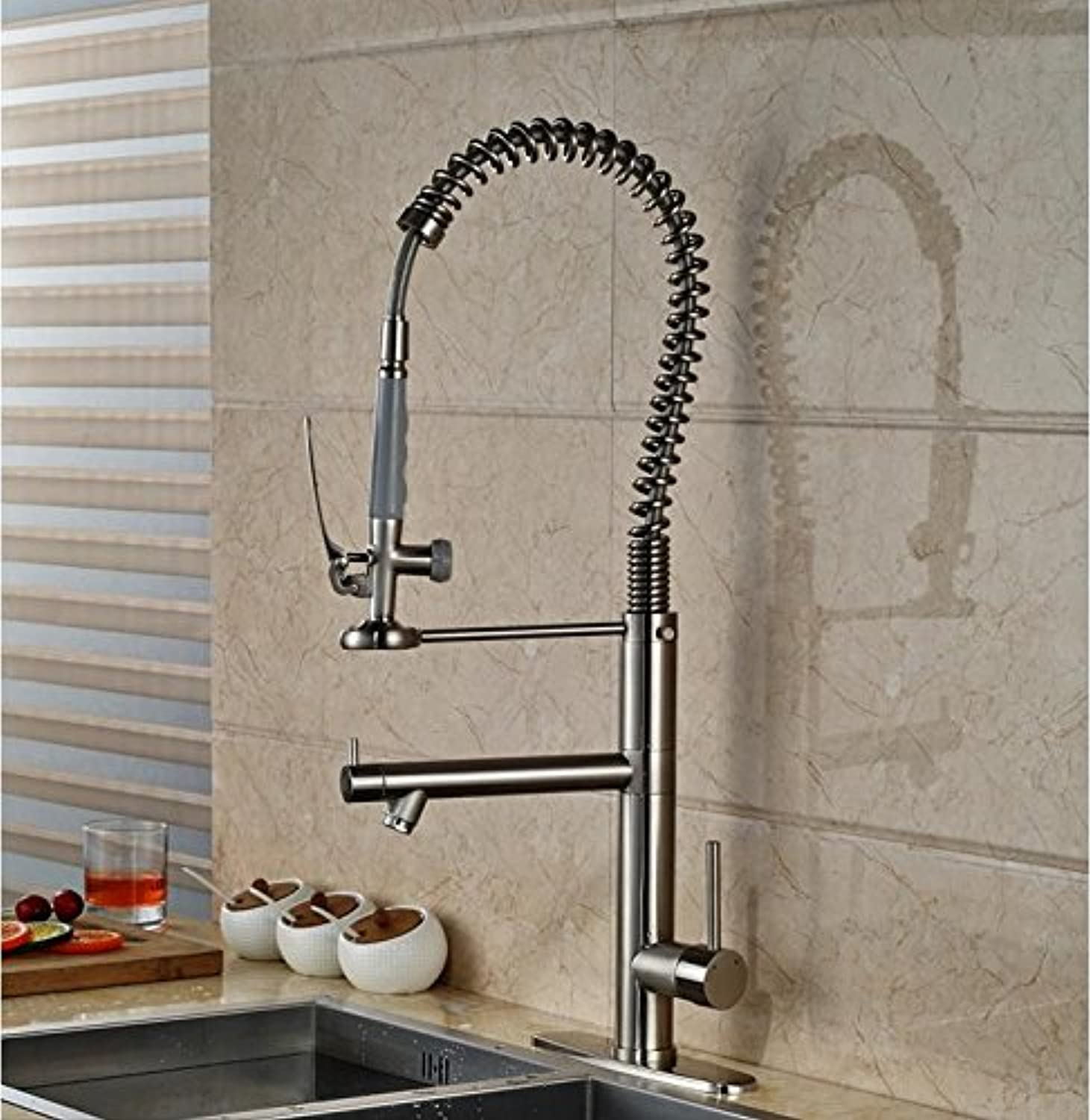 Tw High Style Nickel Brushed Finished Deck Mounted Kitchen Sink Faucet With Cover Plate