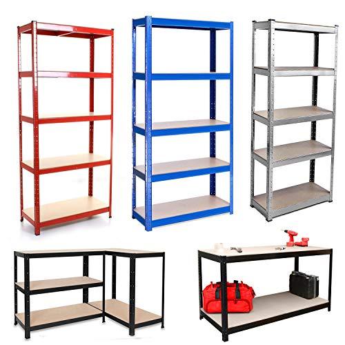 Estantería de garaje de 5 niveles, sin tornillos, resistente, 150 x 70 x 30 cm, color plateado