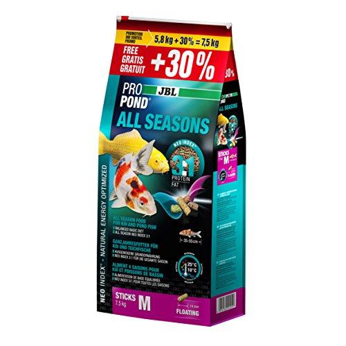 JBL ProPond All Seasons Nourriture pour Reptile/Amphibien Vert 7,5 kg/5,8 kg 30% Gratis Taille M