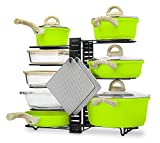 COZY LIVIN Pots and Pans Organizer Rack for Cabinet or Counter with Adjustable Shelves (8 Tiers) - Includes Non-Slip Tips, Utensil Hook and 2 Silicone Trivet Mats - For Horizontal or Vertical Use