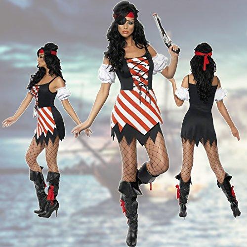 NET TOYS Disfraz Pirata Mujer Bucanera Sexy S 36/38 Ropa corsaria Atuendo navegante de los Mares Novia bucanero Carnaval Fiesta temática Marinera