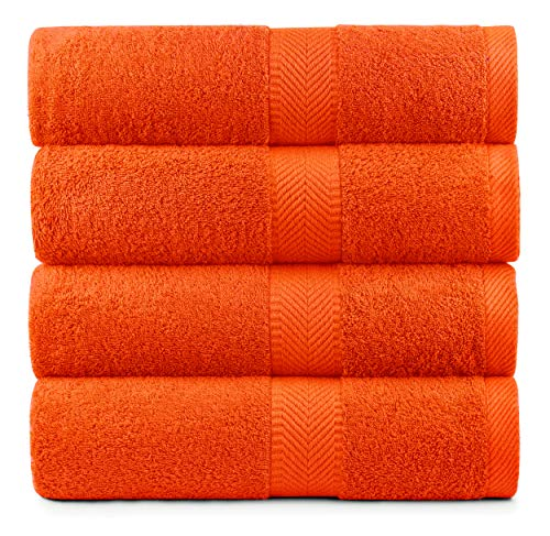 BY LORA Cotton Bath Towels for Bath and Shower Red Orange Color Towel Set of 4