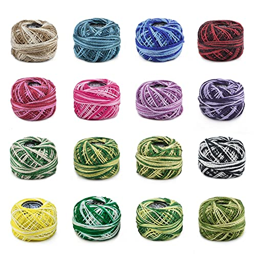 WANDIC Cotton Crochet Thread Set, 16 Packs Crochet Yarn For Sewing...