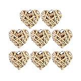 VOSAREA 8 Piezas Corazón Bolas de Ratán Bola de Mimbre Tejida Colgantes Colgantes Decoraciones Colgantes del Día de San Valentín -Tamaño 5 Cm