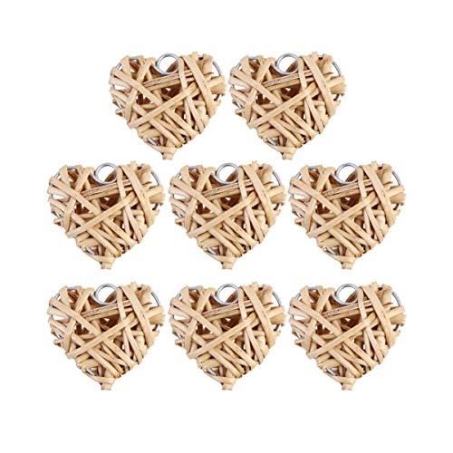 VOSAREA 8 Stück Herz Rattan-Kugeln geflochtene Rattan-Kugeln zum Aufhängen von Valentinstag-Dekorationen, Größe 5 cm, plastik, siehe abbildung, 5*5cm