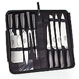 Ross Henery Professional,set di coltelli Eclipse, 9 pezzi, in acciaio inox, con borsa per il trasporto