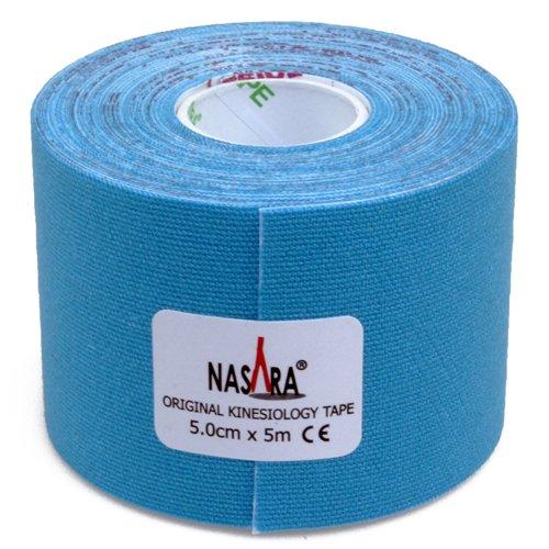 2x NASARA Kinesiologie Tape kinesiologische Tapes im Set * 5m x 50mm (2er 1x blau 1x pink) - 4