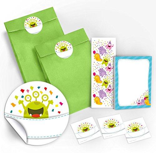 12 Geschenktüten / grün + 12 Aufkleber + 12 Lesezeichen + 12 Mini-Notizblöcke lustige Monster / Mitgebsel Gastgeschenk für Kinder Jungen Mädchen beim Kindergeburtstag Geburtstag Hochzeit Taufe