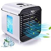 Mobile klimageräte, HISOME Air Cooler, 4 in 1 Persönliche Klimaanlage, Luftbefeuchter, Luftreiniger und Aroma Diffuser, USB mini luftkühler mit wasserkühlung, 3 Leistungsstufen, 7 Verschiedene Farben