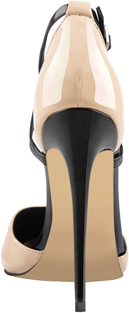 Only maker Womens Pointed Toe High Heels T-Strap Stiletto Pumps Court Shoes