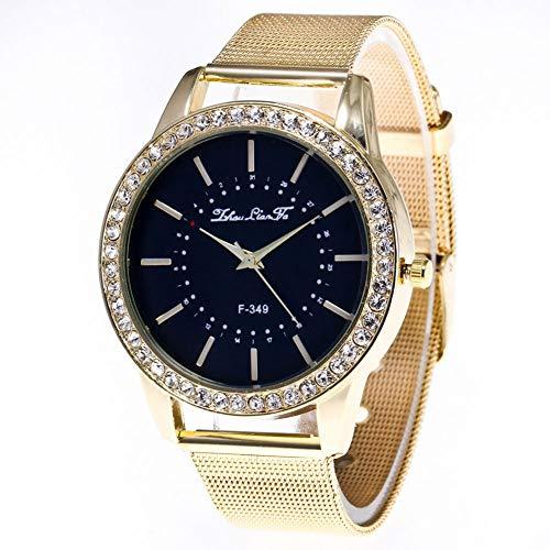 Dilwe Business Armbanduhr, Fashion Qualität Legierung Herren Metall Quarzwerk mit runden Zifferblatt Armbanduhr mit verstellbarem-Band, Gold