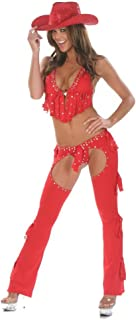 Inc Women's Red Sexy 3PC Cowgirl Chaps Costume