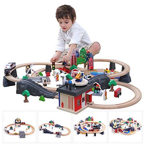 AJAMQ Juego De Tren De 92 Piezas, Trenes De Juguete con Coches Y Pista De Madera Bloques De Construcción Carril De Tren para Niños, Circuito Coches Juguete Niño