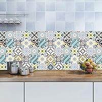 JY ART Etiquetas engomadas de la Pared del azulejo Azul de Marruecos, Conjunto Adhesivo del Cuarto de baño del Collage del azulejo del baño de 12 Pedazos,20x20