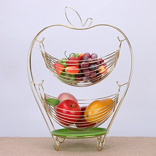 CJH Creative Fruitmand Swing Storage Basket fruitschaal Double Living Room Decoration Candy Plate Fruitmand (Color : Gold)