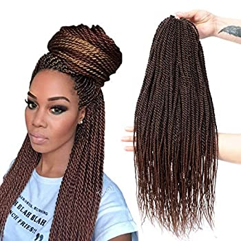 Senegalese Twist Crochet Hair 4 Colors Avaliable for Women Low Temperature Fiber Synthetic Braiding Hair Extensions 8Packs 34~35 Stands/Pack  22 Inch 1B/30)