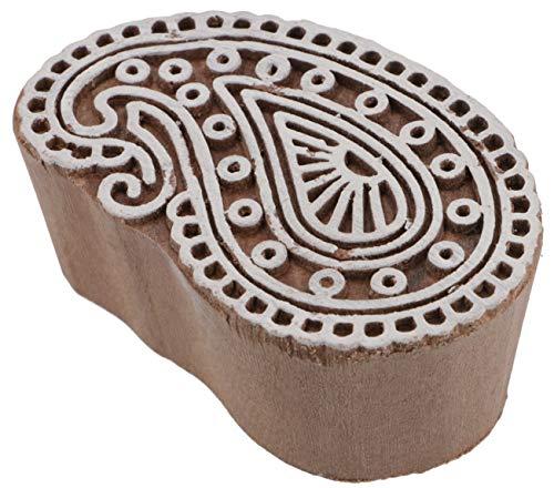 Guru-Shop Indischer Textilstempel, Stoffdruckstempel, Blaudruck Stempel, Holz Modelt - 4x7 cm Paisley 1, Braun, Indische Holzstempel