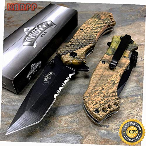USA Spring Open Outdoor Fall Camo Camping Hunting Pocket Knife - Outdoor Camping perfect For Hunting EDC EMT