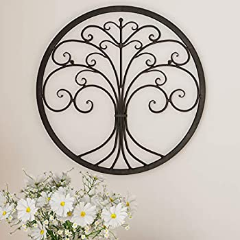 """Lavish Home Decor – Iron Metal Tree of Life Modern Wall Sculpture Art Round for Living Room Bedroom or Kitchen 18"""" L x .5"""" W x 18  H Dark Brown"""