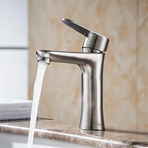 Bijjaladeva Wasserhahn Bad Wasserfall Mischbatterie Waschbecken Edelstahl gebürstet Edelstahl Waschbecken Einzelne Bohrung auf der Konsole Tisch Glas Waschbecken Kaltes Wasser Tip