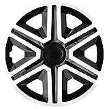 NRM Action 4 x Universal Radzierblenden Radkappen Satz 4er Set Auto KFZ Zoll (Weiss-Schwarz, 16')