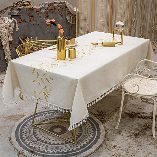 VIVILINEN Mantel Rectangular de Lino de algodón Mantel Rectangular Lavable Borla Cubierta de Mesa para Cocina Comedor Fiesta (Dorado, 140 x 180cm)