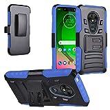 Z-GEN - Motorola Moto G7 Play XT1952 - Hybrid Armor Phone Case w/Stand/Belt Clip Holster - CV1 Blue