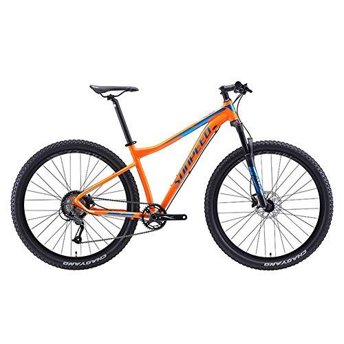 CWZY - Bicicleta de montaña de 9 velocidades, marco de aluminio, para hombre con suspensión frontal, unisex, bicicleta de montaña, todo terreno, azul, 27,5 pulgadas, color naranja, tamaño 29Inch