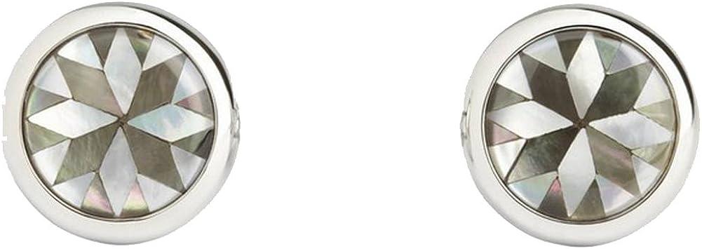 Simon Carter Mens White Kaleidoscope Cufflinks - Grey