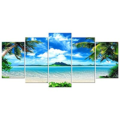 Pyradecor Large Modern 5 Piece Stretched and Framed Giclee Canvas Prints Artwork Contemporary Landscape Blue Sea Beach Pictures Paintings on Canvas Wall Art for Living Room Home Decorations AH5059-L