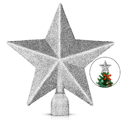 EAONE 1 Pack 4' Star Christmas Tree Topper, Silver Glittered Christmas Tree Decoration for Party Home Decor