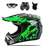 ESASAM Casco de motocross Downhill de cara completa para moto, quad infantil y cross, casco todoterreno con guantes, máscara (verde, XL)