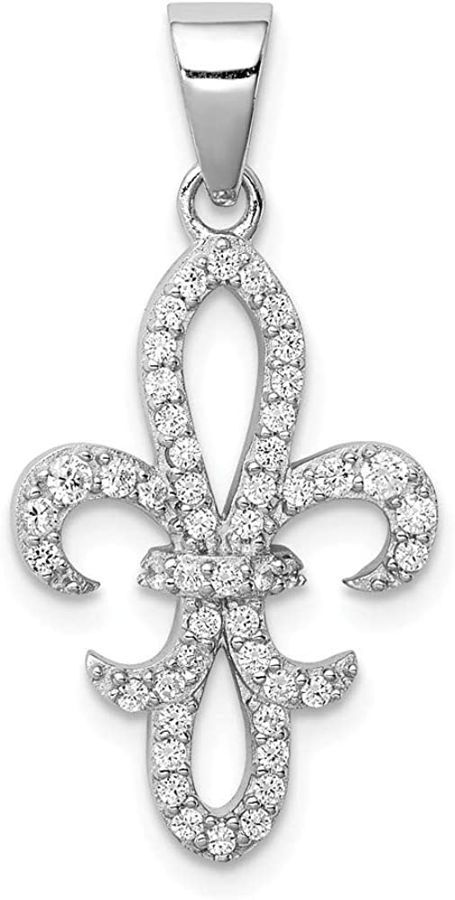 925 Sterling Silver Cubic Zirconia Courier shipping free shipping Cz Charm Pendant Limited time for free shipping De Fleur Lis