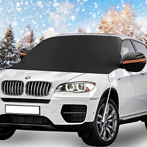 Windshield Snow Cover, KKTICK Car Windshield Covers for Ice Snow Frost Full Protection, Windscreen Winter Cover with Side Mirror Covers and Hooks, Fit for Cars Trucks Vans and SUVs (85 x 50 inch)