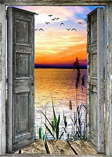 5D DIY diamante pintura completa redonda puerta cuadrada puesta de sol bordado de diamantes punto de cruz paisaje mar mosaico pared arte A2 60x80cm