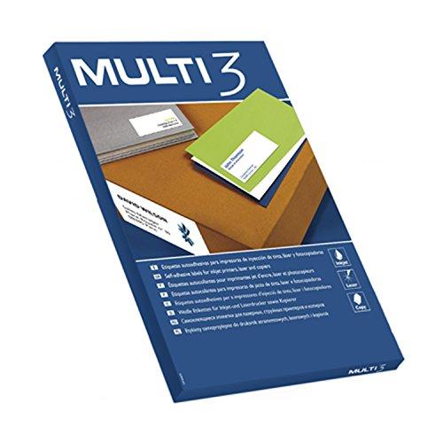Apli - Etiquetas adhesivas multi3 para inkjet laser y fotocopiadoras cantos rectos 100 hojas 210 x 297mm