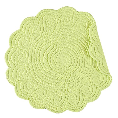 C&F Home Lime Green Round Cotton Reversible Machine Washable Quilted Cotton Reversible Machine Washable Placemat Set of 4 Round Placemat Lime Green