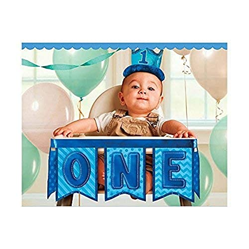 Amscan 249004 1st Birthday Deluxe High Chair Decoration - Blue - 1 piece