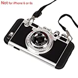 Black Lemon Case for iPhone 6 Plus, Cute Case for iPhone 6s Plus, 3D Unique Design Camera Case PC + Silicone Shockproof Hybrid Cover Case with Long Strap Rope (Black)