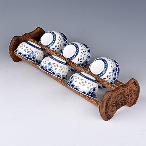 MKJYDM ala de Pollo Portavasos de Madera Portavasos de Posavasos Doble Juego de té de Kungfu de Madera Accesorios Estante Portavasos Portavasos de Madera Maciza Almacenamiento de Cocina