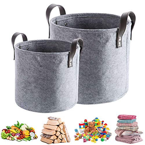 Wisvis 2Pcs Felt Laundry Basket - Collapsible Laundry Hamper Firewood Basket With Leather Handle for Living Room Organizer,Fireside Wood, Newspaper, Magazine, Toy Storage